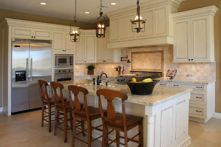 Stainless Steel Appliances We Love The Large Stately Island In This Kitchen Topped With Light Granite And