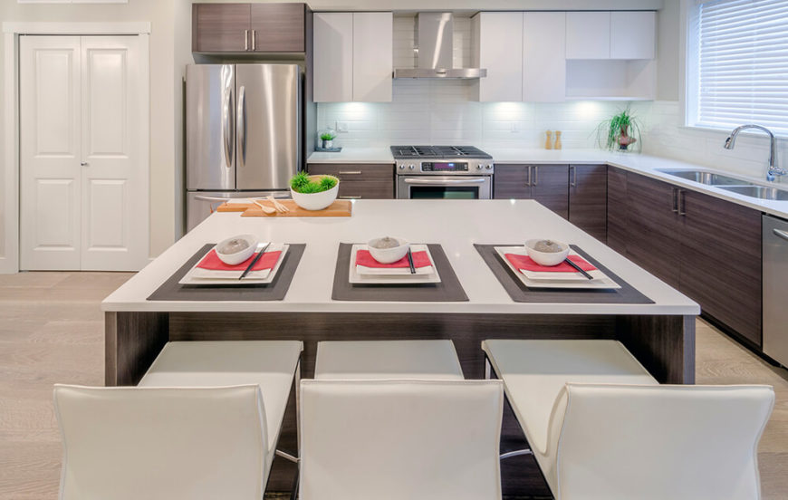 Ultra Modern Minimalism Informs This Sleek Kitchen, Pairing White  Countertops, Tile Backsplash, And Part 95