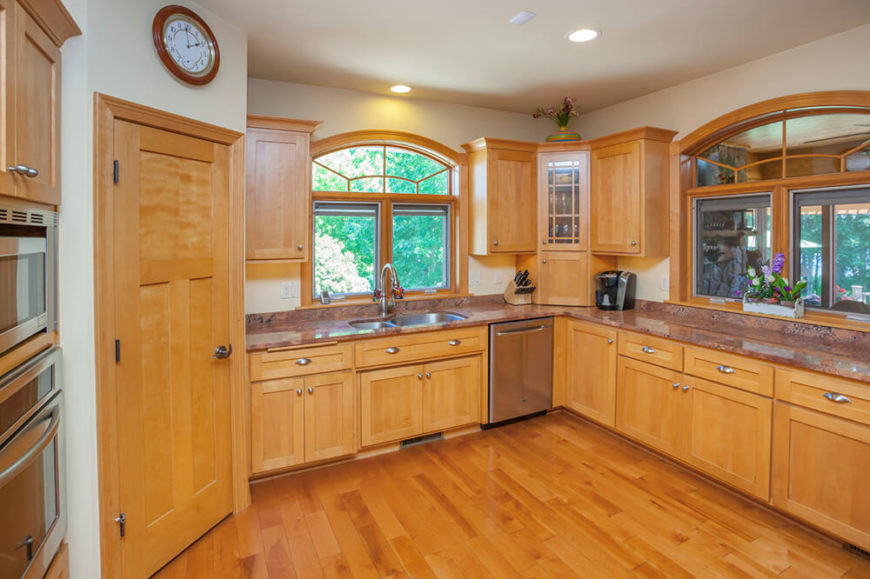 Warm Light Wood Cabinetry Matches The Hardwood Flooring In This Large, Open  Plan Kitchen, Part 43