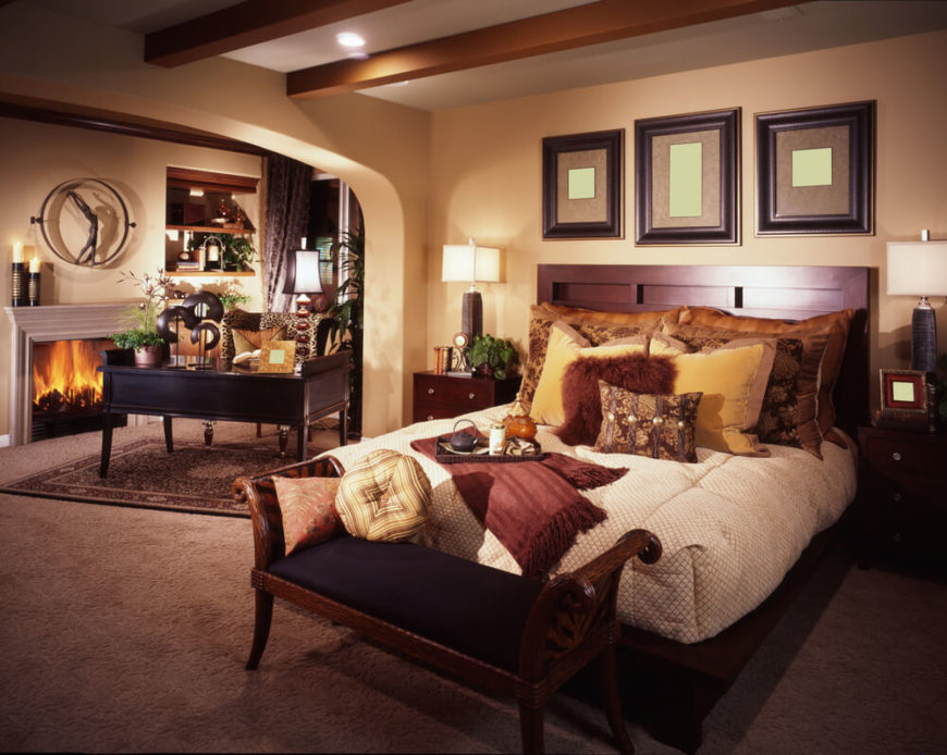Superb Office In Master Bedroom Part - 2: This Bedroom Is A Sophisticated Space With Rich Wood Finishings And Deep,  Dark Colors.