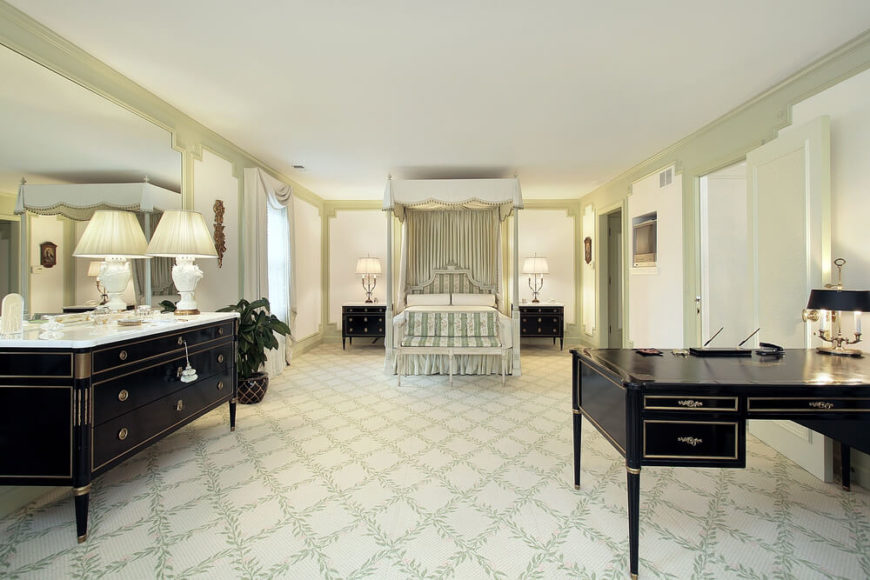 Office In Master Bedroom Part - 19: A Massive Bedroom Space, With A Modest Color Scheme. Light Lime Green Tones  Make
