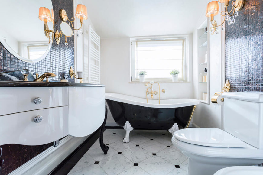 41 bespoke bathrooms with glittering chandeliers for Built in clawfoot tub