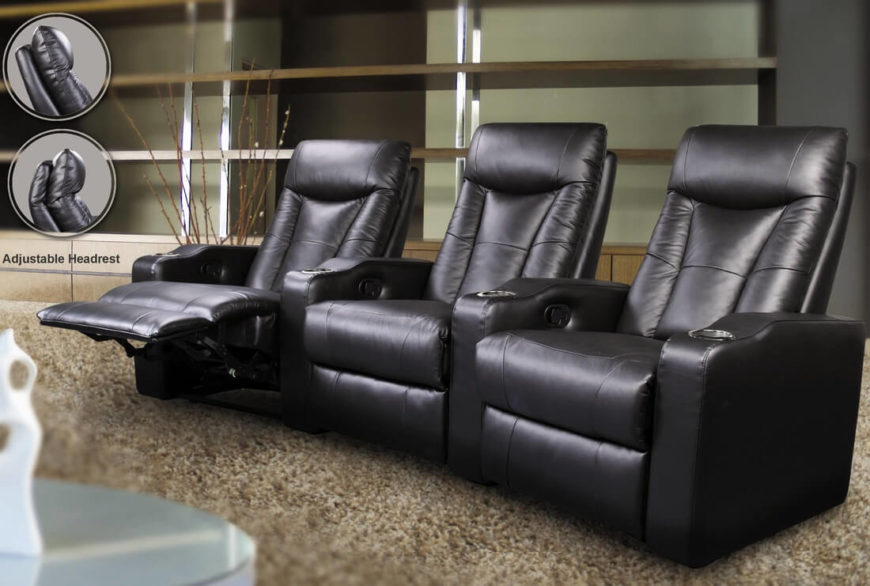 triple seated home office area. perfect for sports fans and movie buffs this triple threat seating arrangement means you seated home office area