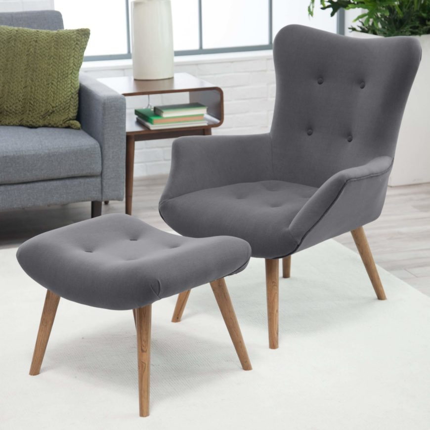 Sleek And Simple In Design This Chair Ottoman Set Employs A Timeless That