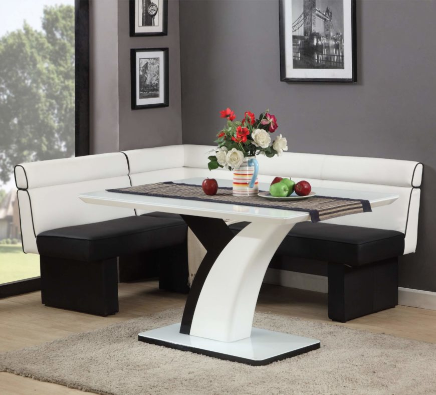 Top 16 types of corner dining sets pictures for Black and white dining set