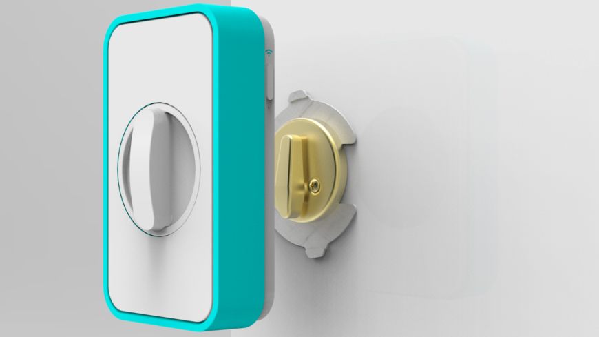 This innovative home security device from Apigy allows you to lock and unlock the deadbolt on your front door from your smart phone, anywhere there's an internet connection. Unlike many other options here, this is not a total replacement for your existing deadbolt door lock; it's actually a functional, mechanical device that fits over the lock itself, turning it on your electronic command. As a kit, the electronics are purchase separately.