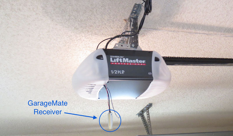Here's a look at the almost unnoticeable device as installed. The small receiver is wired into your existing garage door opener and discreetly hangs out of the way.