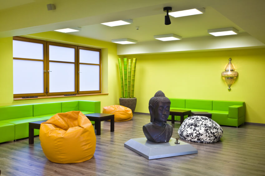 Here's an example of a colorful yoga studio design. I think it works, but