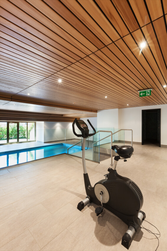 Indoor pool with yoga space