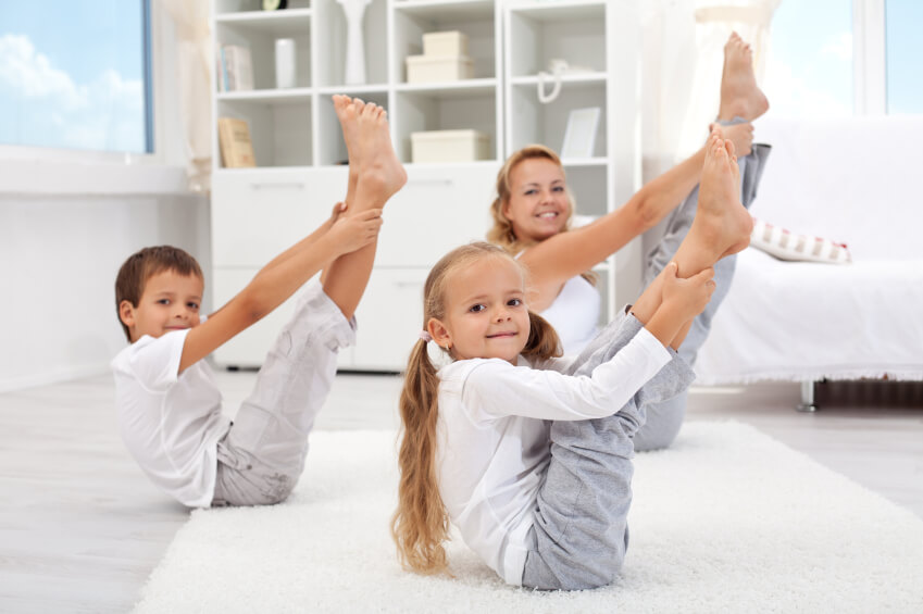 Here's an example of doing yoga in the living room with family.