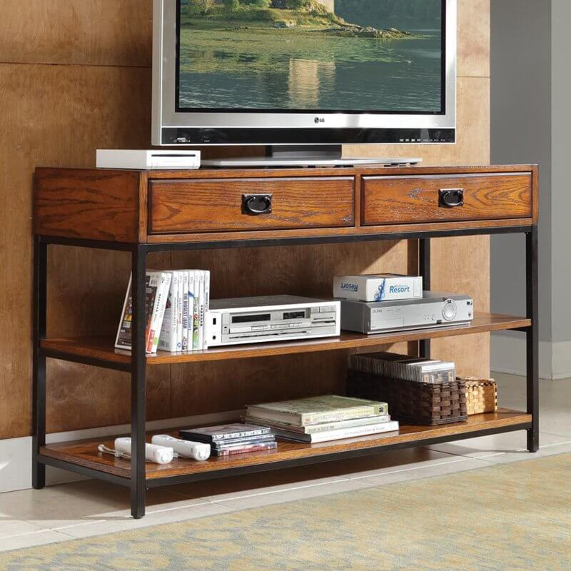 This console style piece features our first instance of metal  pairing  perfectly with the rich. 28 Great Craftsman Living Room and Family Room Design Ideas