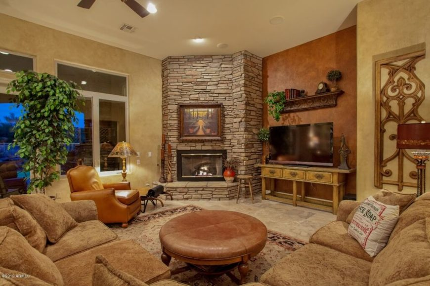Glamorous Craftsman Style Living Room Fireplace
