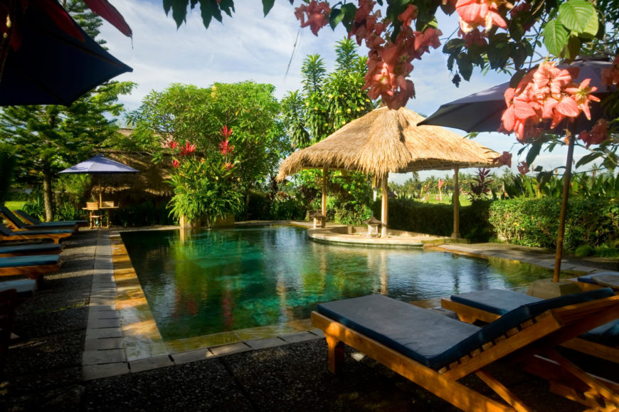 A tropical in ground pool with a small dip on one side to accommodate a shaded covered patio. The area is made private by the wealth of tropical flowering bushes and trees.
