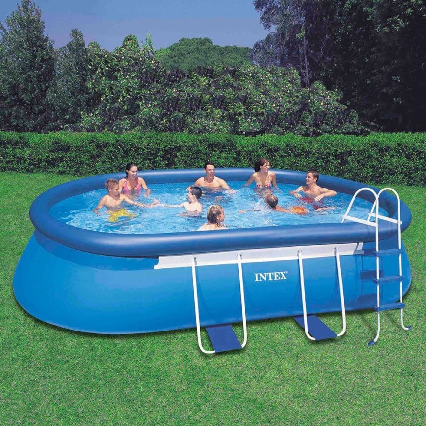 This large oval pool is large enough for a party, but will need to be deflated and stored during the winter time. The perfect pool for a family on a budget.