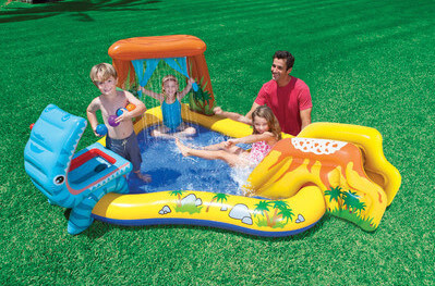 This is more of a traditional kiddie pool, meant for toddlers and very young children. This is an inflatable model with slides and toys built in. Like all children's pools, an adult should be present at all times to supervise.