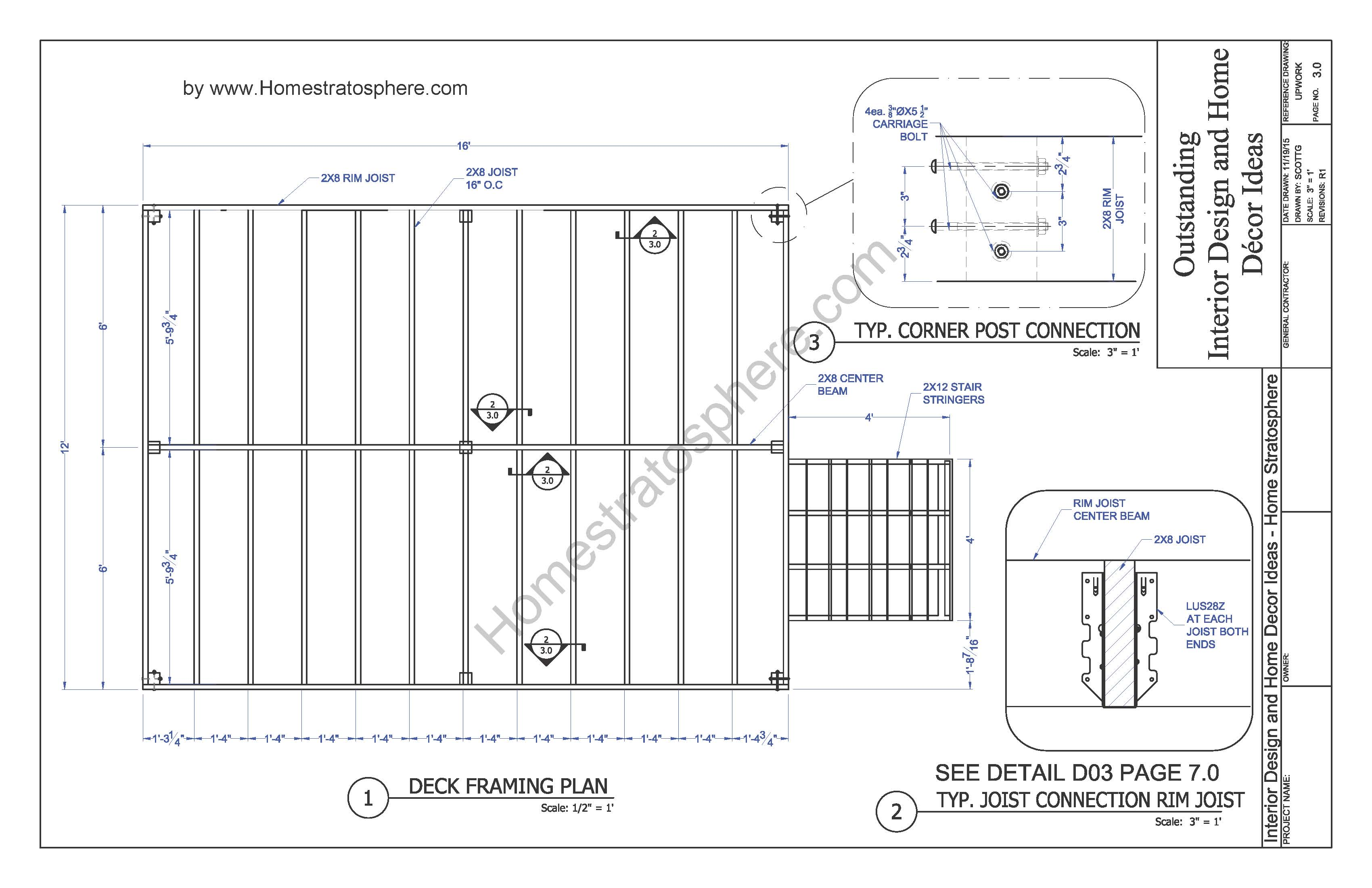 Free 12 x 16 deck plan blueprint with pdf document download malvernweather Image collections