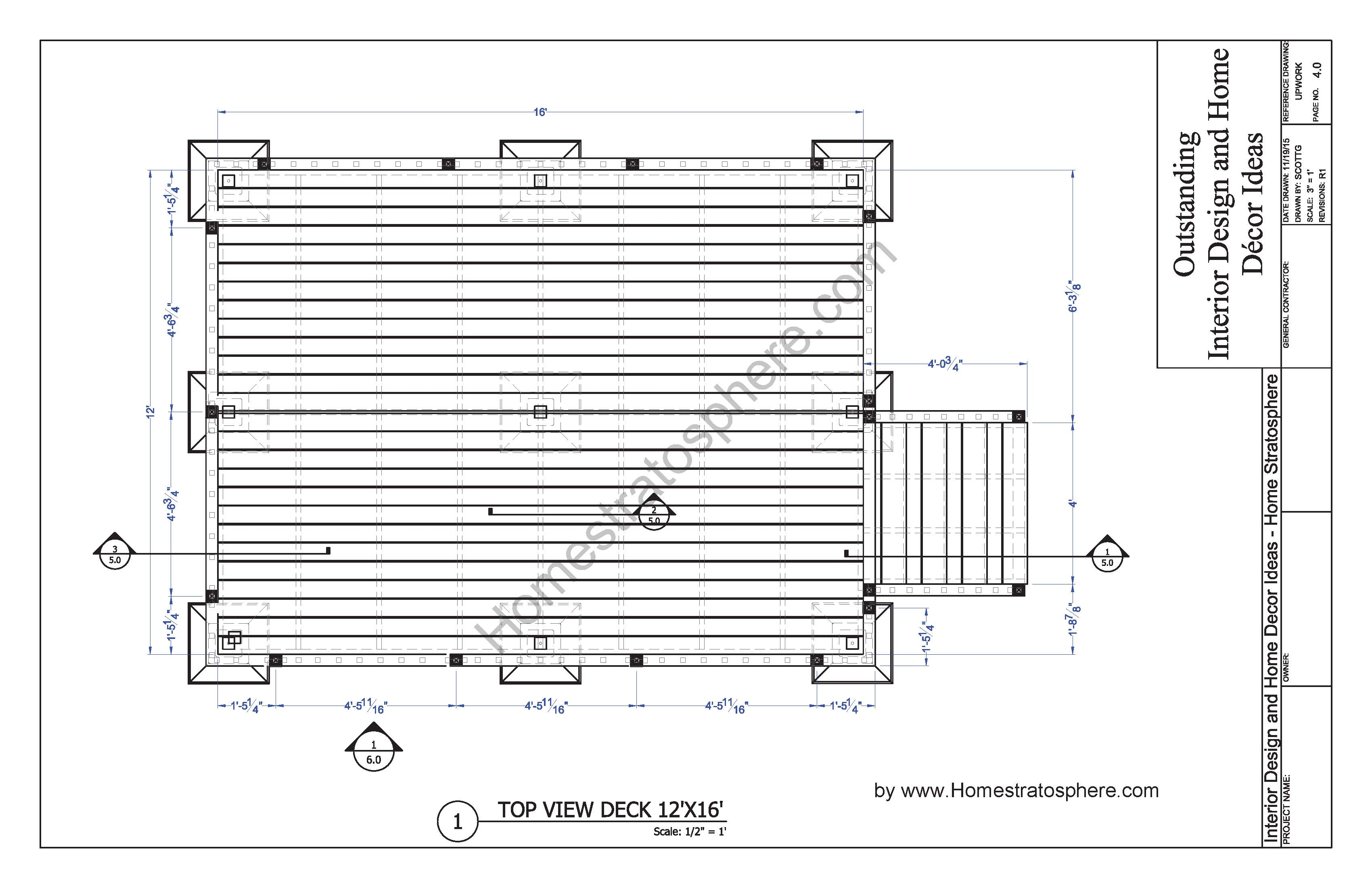 Free 12 x 16 deck plan blueprint with pdf document download 12x16 deck with stairs planpage04 baanklon Images