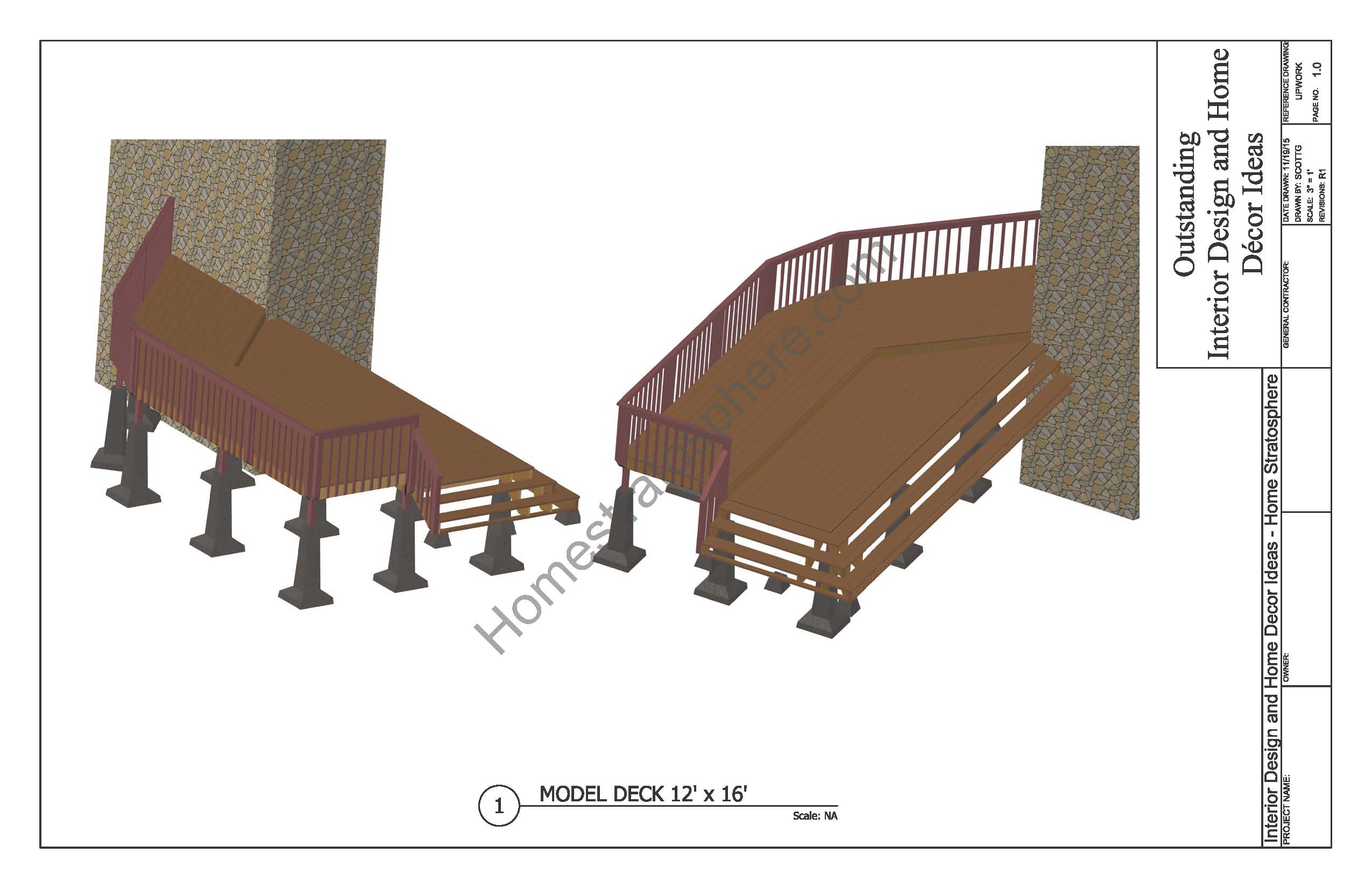 Free deck plans and blueprints online with pdf downloads 2 level deck plan baanklon Gallery