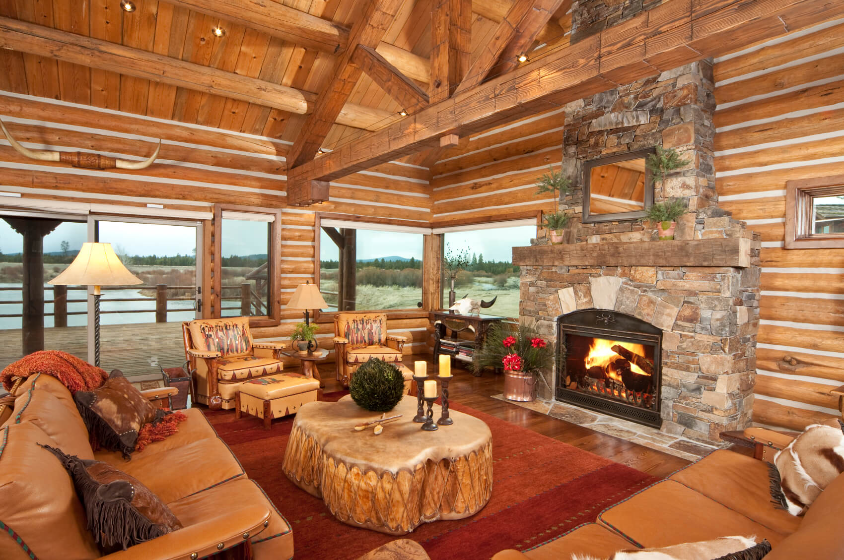 25 sublime rustic living room design ideas for Rustic cabin homes
