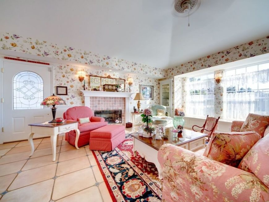 A Pink And Red Country Design With Plenty Of White Furniture And  Accessories To Keep The