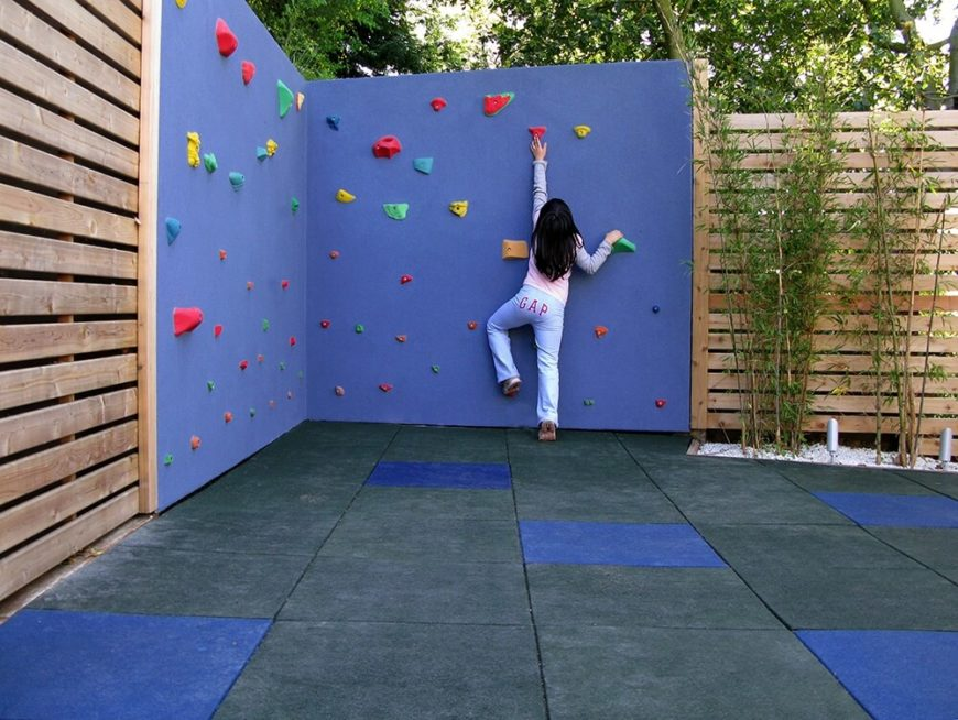Or, install an awesome climbing wall for the kids to play on. Just don't build it too tall.