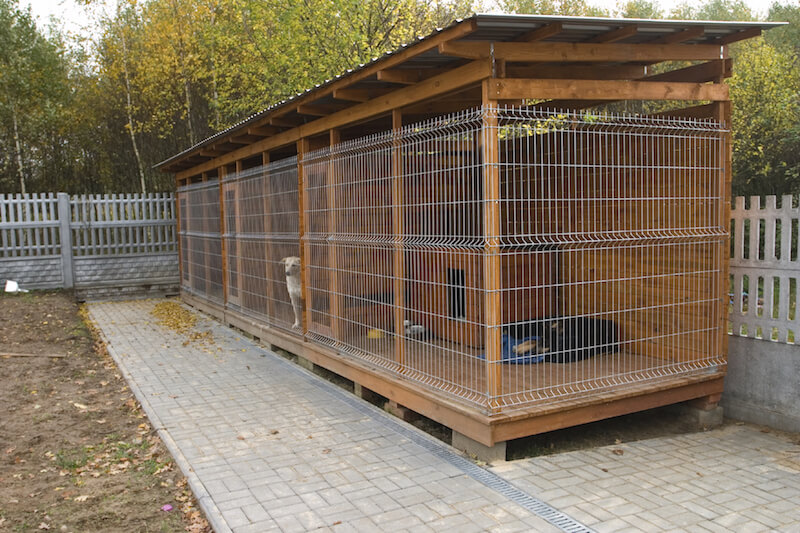 Kennels are another option for homeowners, although they tend to be less attractive than dog houses, and aren't suitable for keeping the dog in for extended periods of time.