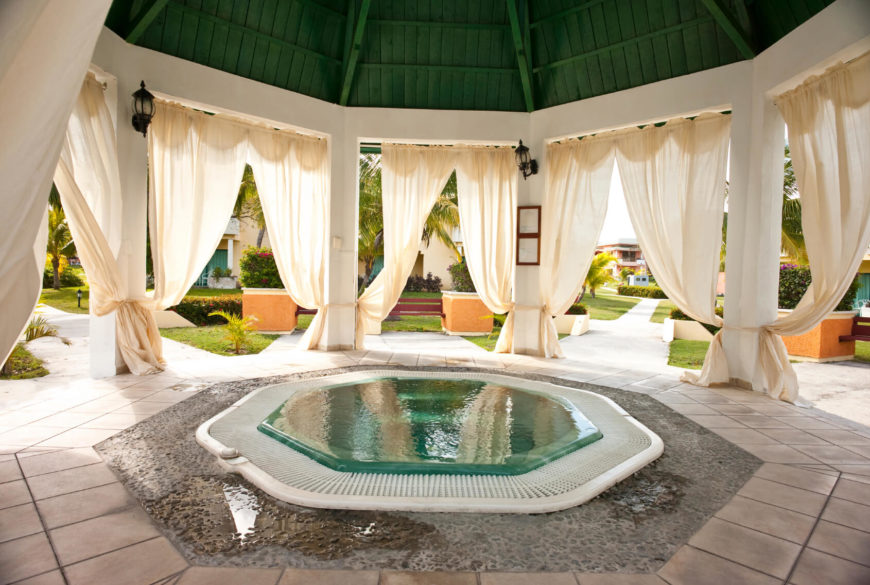 Small Pool Ideas pool yard A Gorgeous Hexagonal Dipping Pool Under A Pagoda This Is An Amazing Design For A