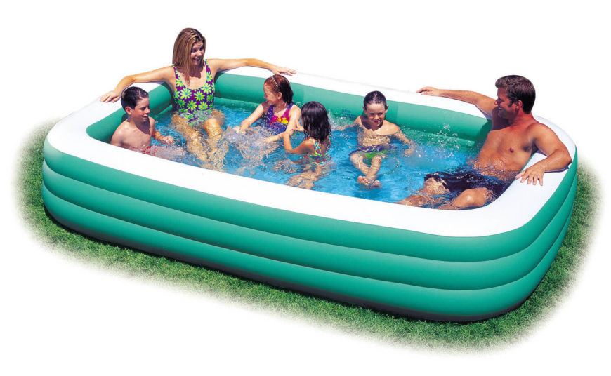 this longer inflatable pool is manageable in size but large enough to allow multiple people