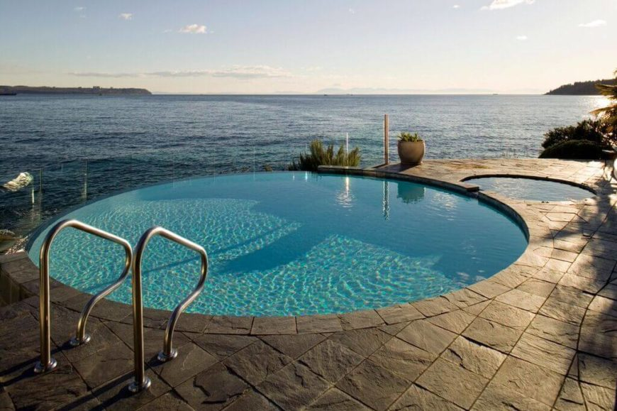 this is a great round pool with an infinity edge with a much smaller