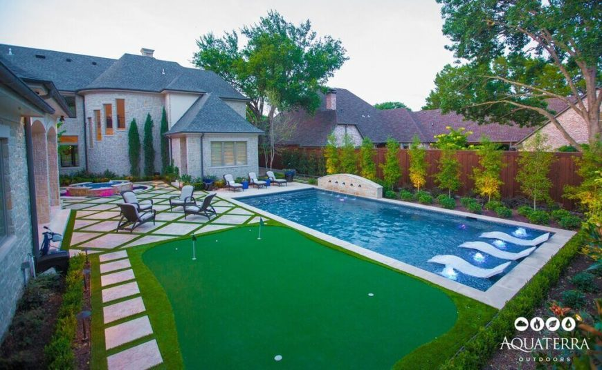 This Is A Classic Rectangular Designed Pool. The Yard Uniquely Frames It  With A Small