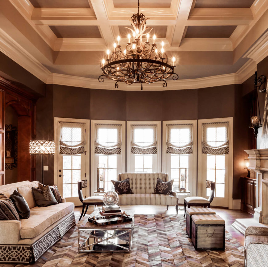 this family room is a traditional design with some modern elements added in the room
