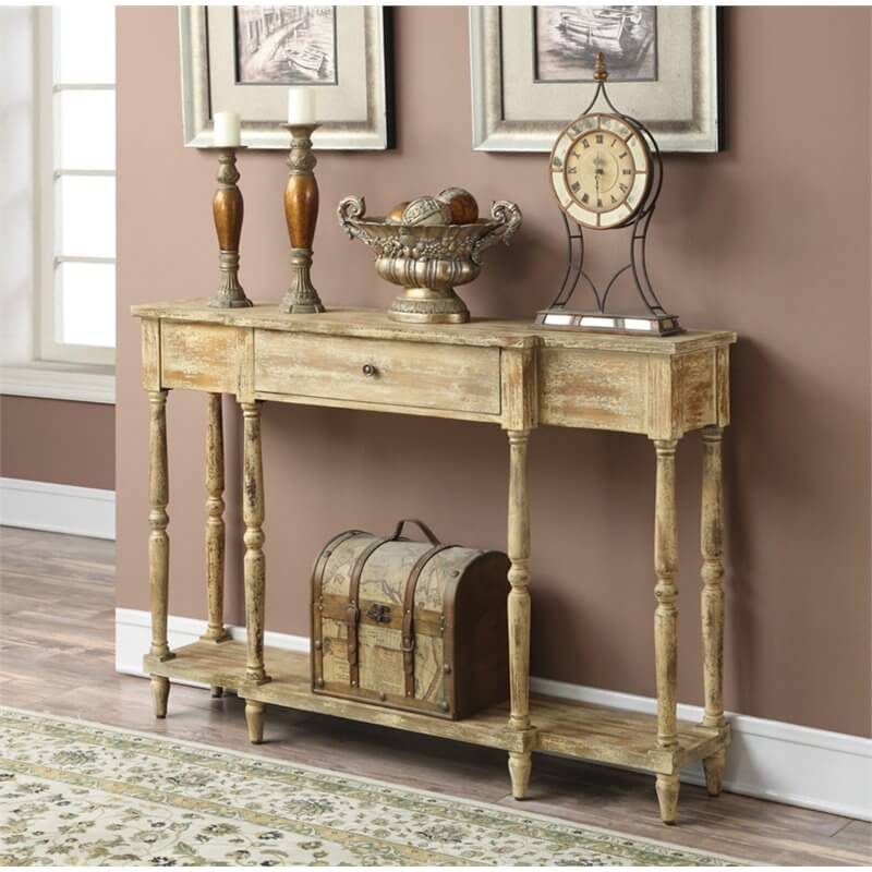 A Free Standing Table Can Make Good Self This Worn Wood Has An