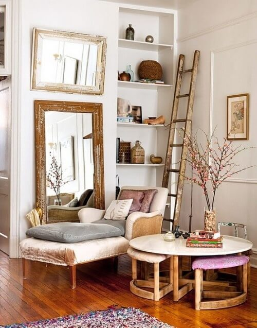 A Tall Mirror And Ladder Add Great Deal Of Character To This Living While