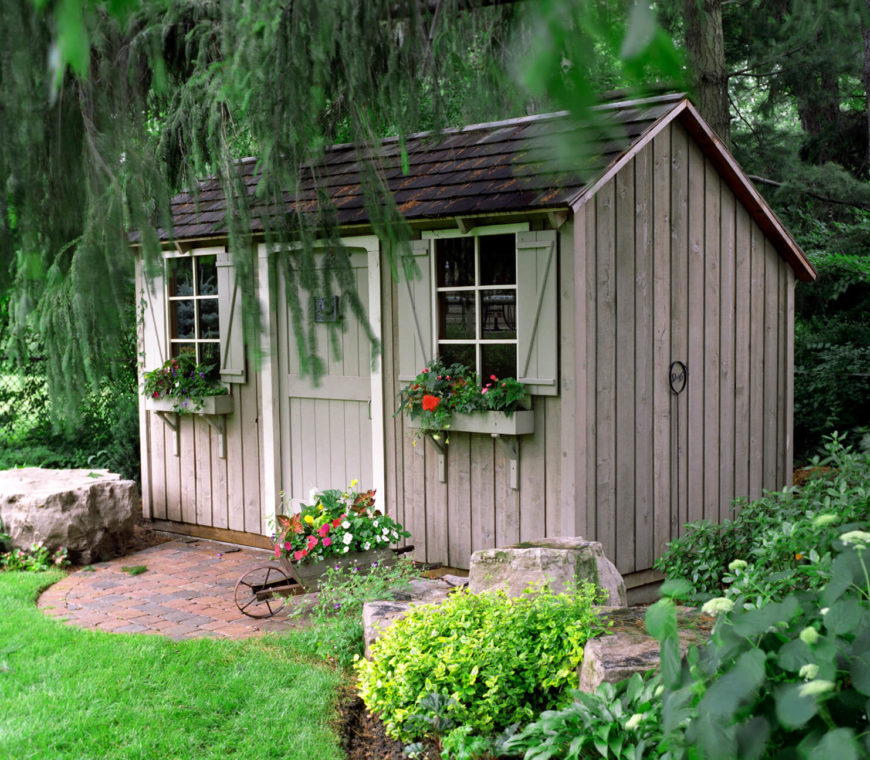 22 beautiful backyard sheds to meet your storage needs for Stone garden shed designs