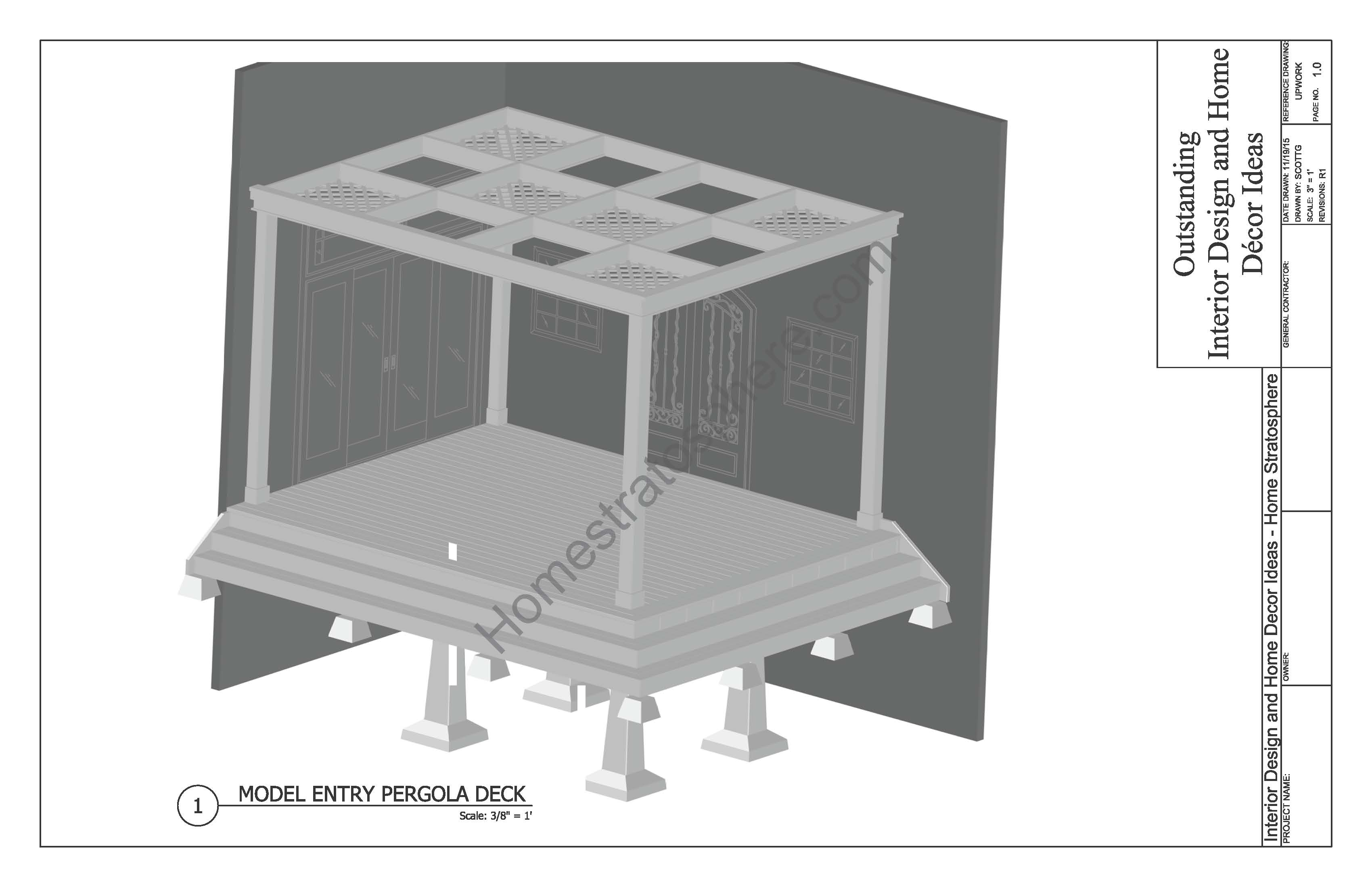 Free deck plans and blueprints online with pdf downloads deck design with pergola plans baanklon Gallery