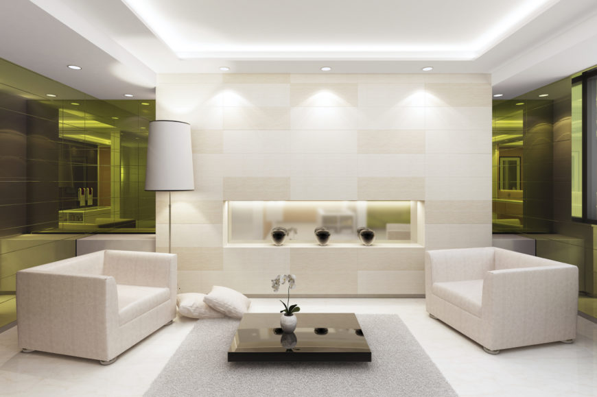 This Living Room Consists Of Mostly White With A Splash Of Black For Some Contrast