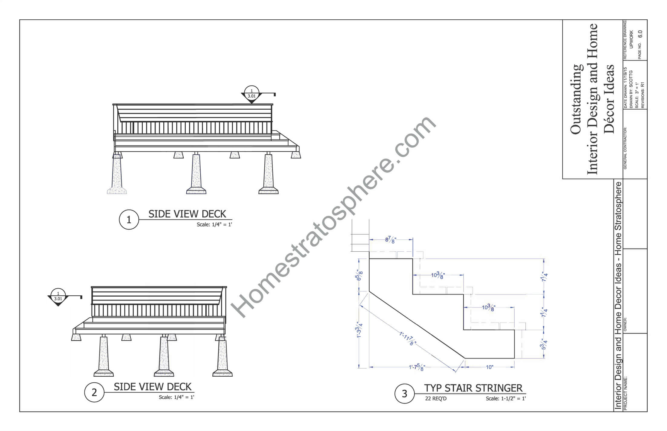 Deck Plan With Built In Benches For Seating And Storage