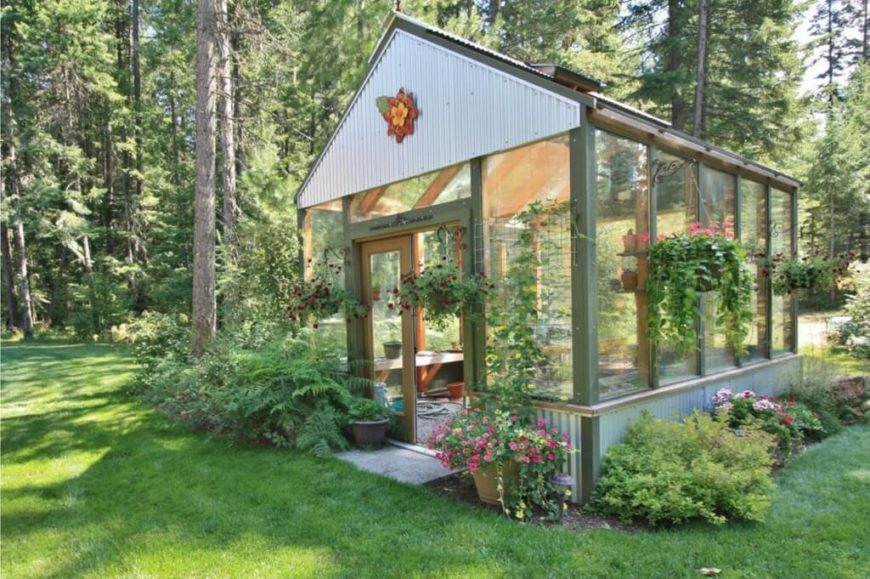 Backyard Greenhouse Ideas want a green house like this one more backyard greenhousegreenhouse ideasbackyard cabingreen housesgarden Here Is A Simple Greenhouse With A Wooden Frame And A Bit Of Personal Flair