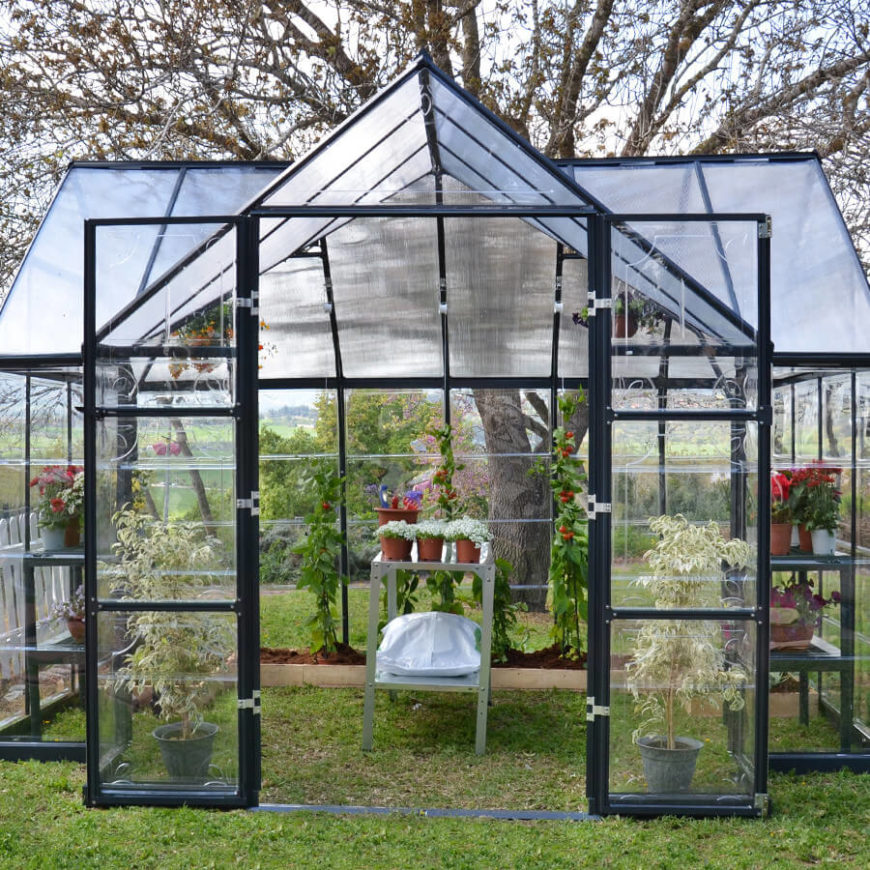 this large greenhouse kit has double doors and plenty of space for all kinds of plants