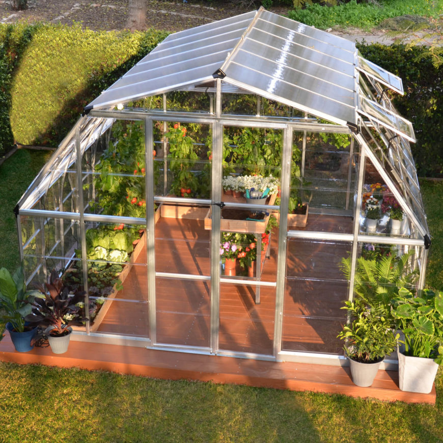 here is a nice and spacious greenhouse from a kit the dome design