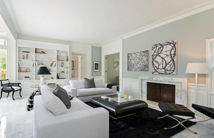 This Living Room Has A Great Sense Of Symmetry And Is Well Lit The Built