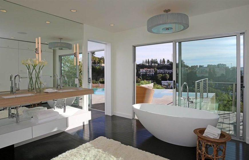 Modern bathroom with fantastic freestanding tub and view.