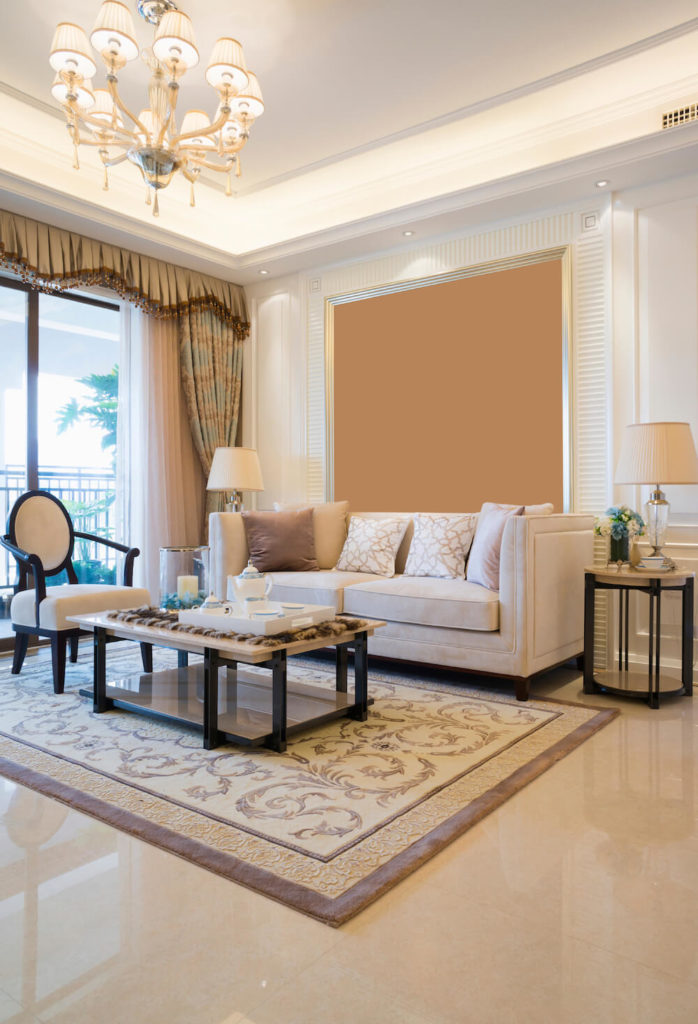 luxurious living room floor with an amazing off white marble floor ...