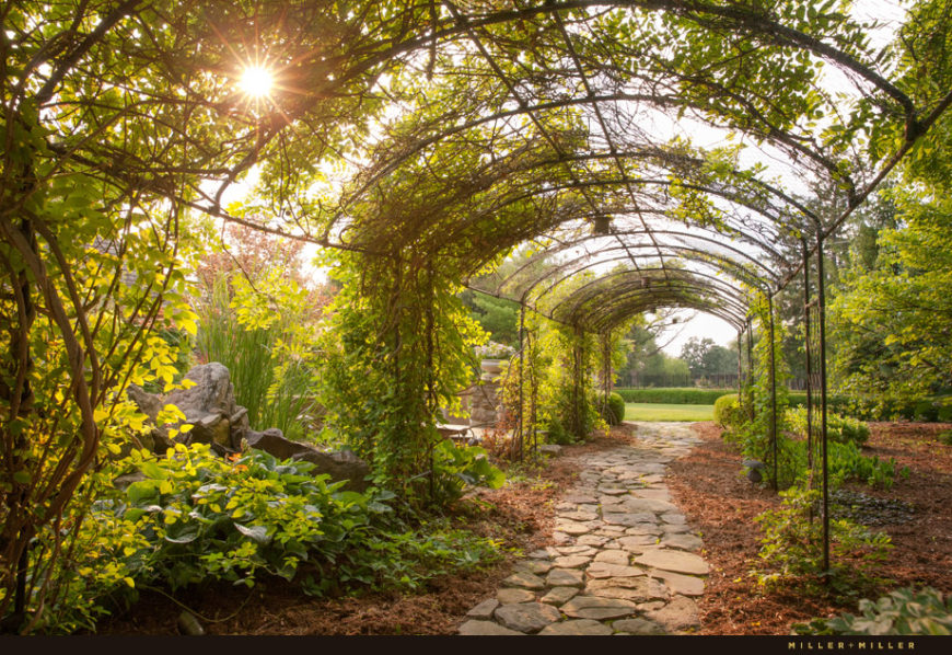 Backyard Arbors Ideas beautiful backyard pergola designs that will amaze you This Incredible Arbor Is Designed To Become A Unique Green Tunnel After The Plants Mature And