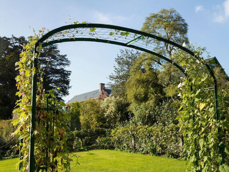 an ultra wide arbor with a simple lattice pattern in wire the climbing vines - Arbor Design Ideas