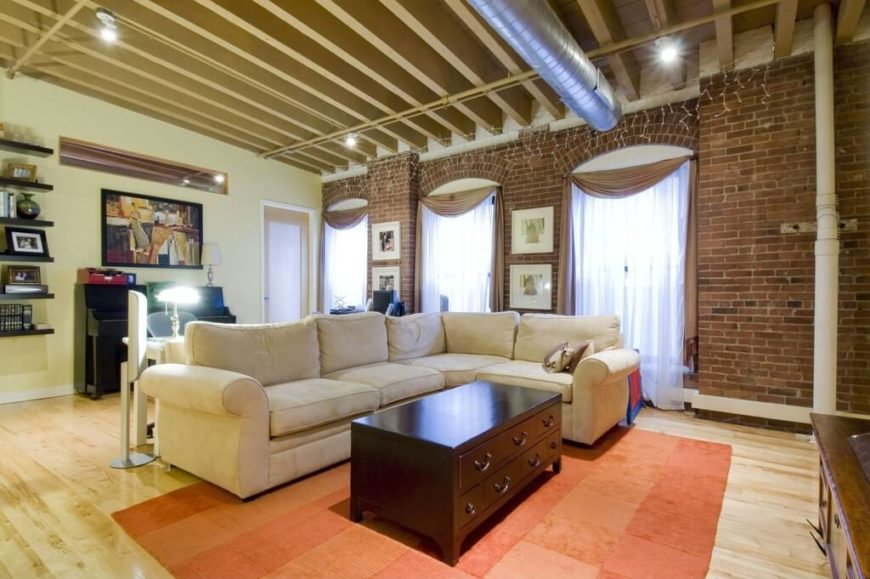 here is an room with an exposed beam ceiling an exposed beam look