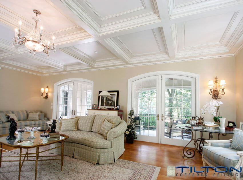 60 fantastic living room ceiling ideas for Average cost of coffered ceiling