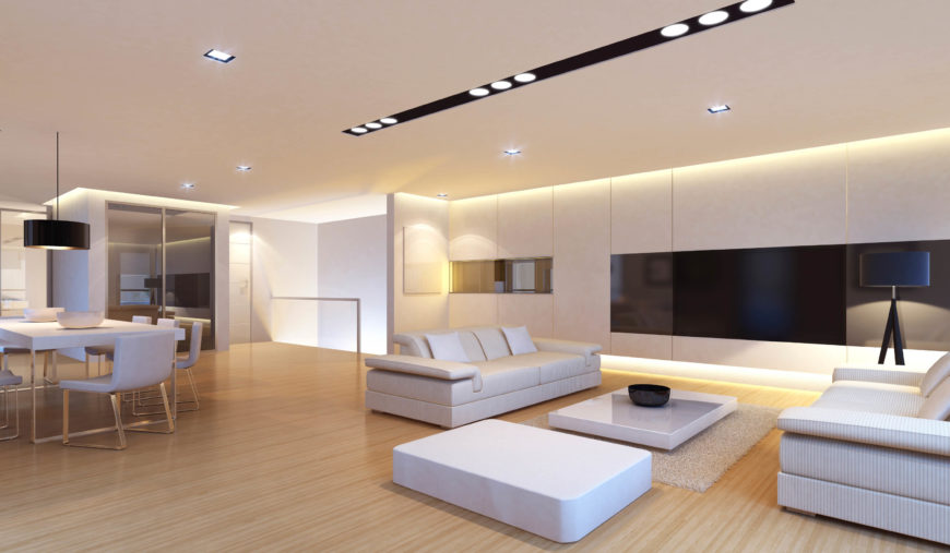 Here is a bright and simple modern living room that uses a number of simple  recessed. 40 Bright Living Room Lighting Ideas