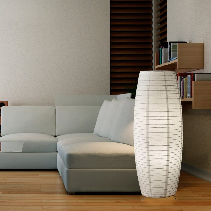 here is a stylish floor lamp that lights up this modern and simple living room