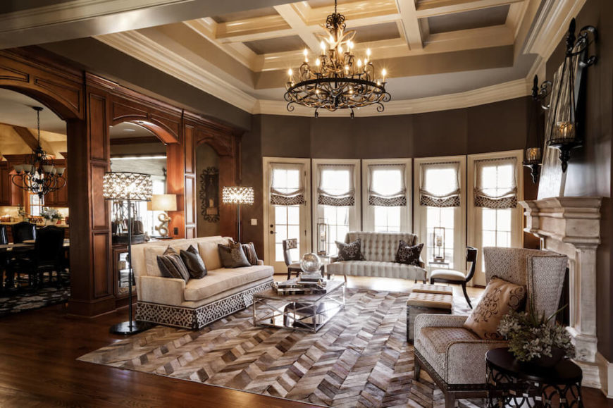 this picture shows a living room rich in nice wooden tones and
